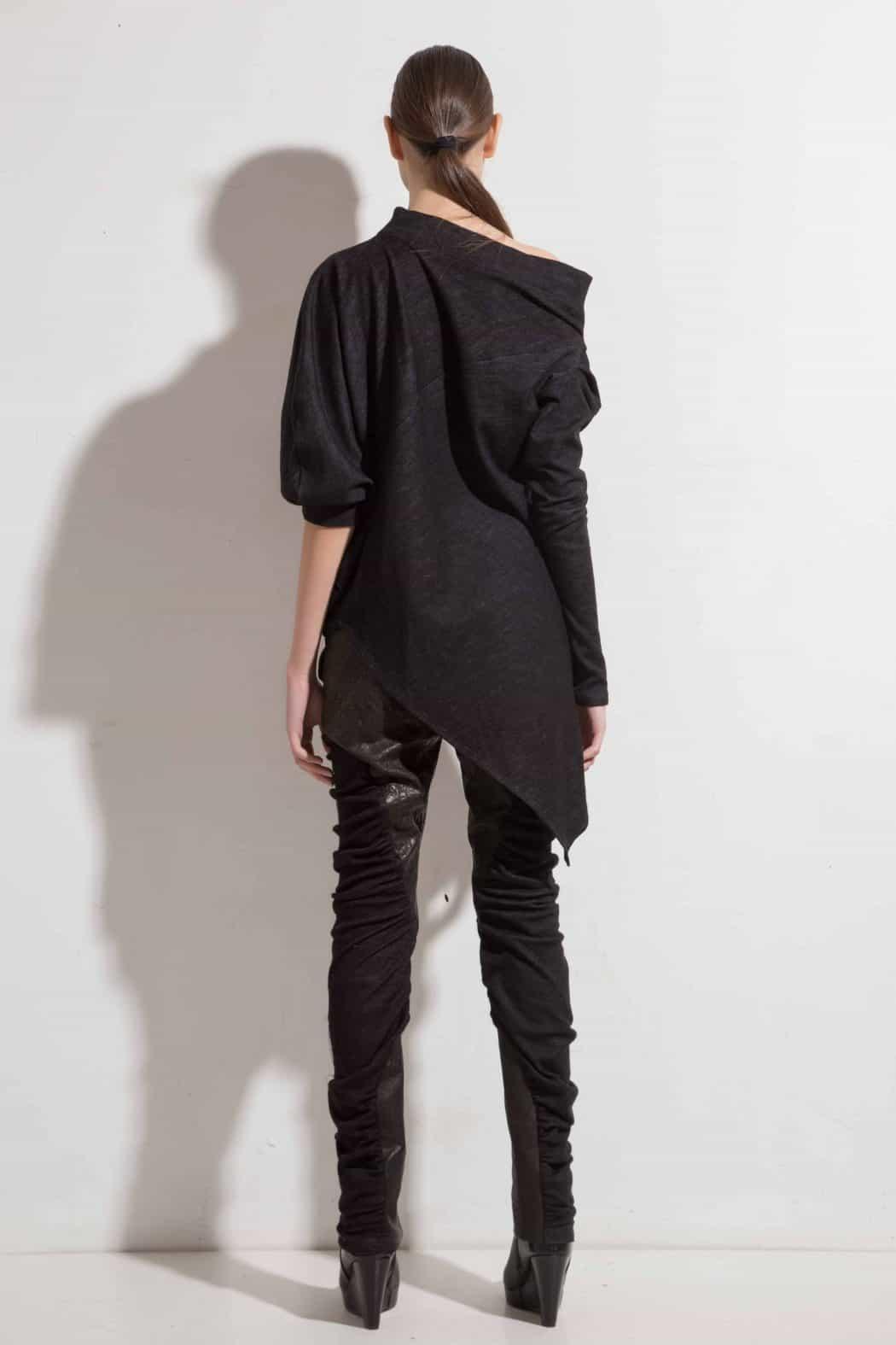 Asymmetric woolen blouse YOANA