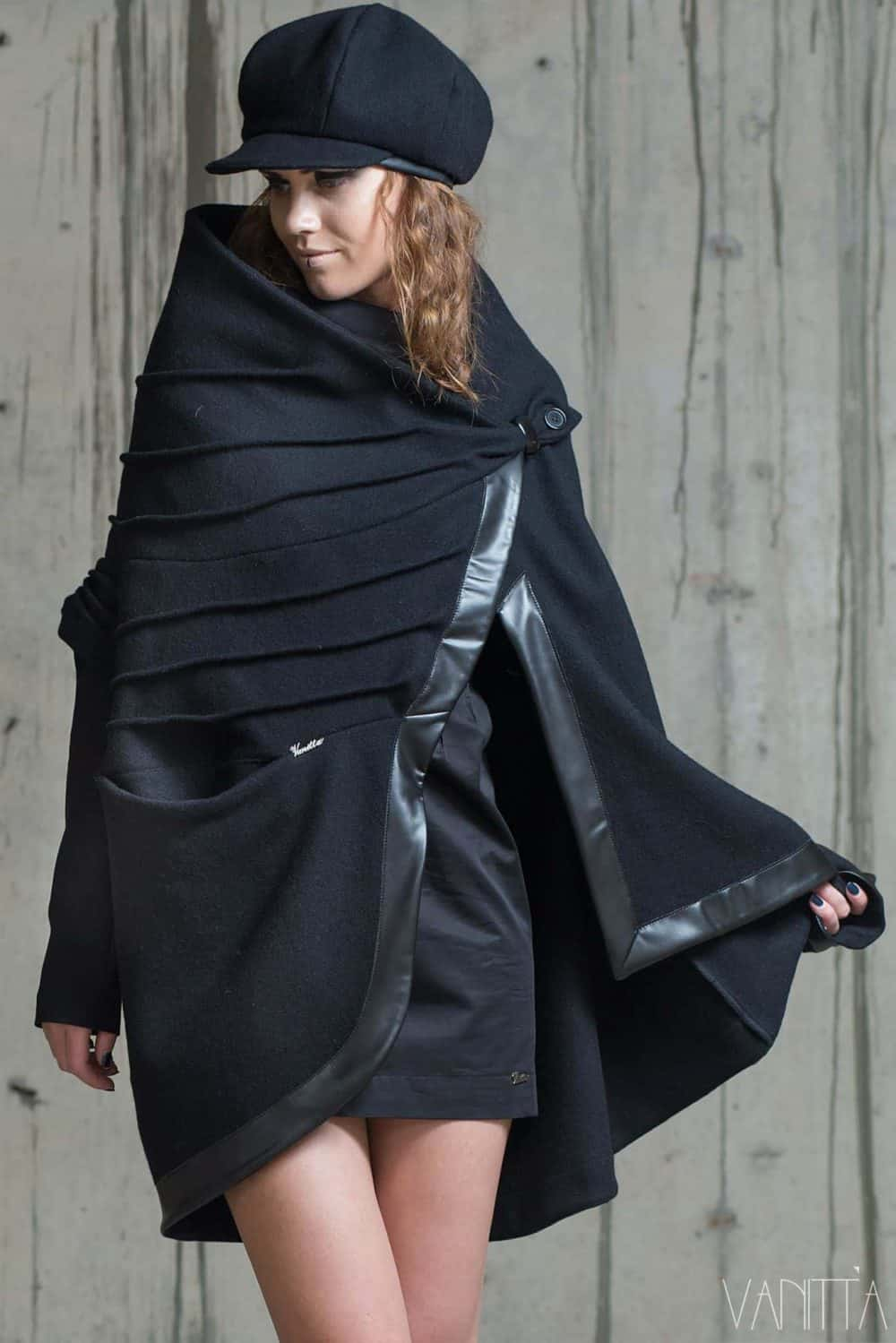 Asymmetrical ladies coat NAVARA