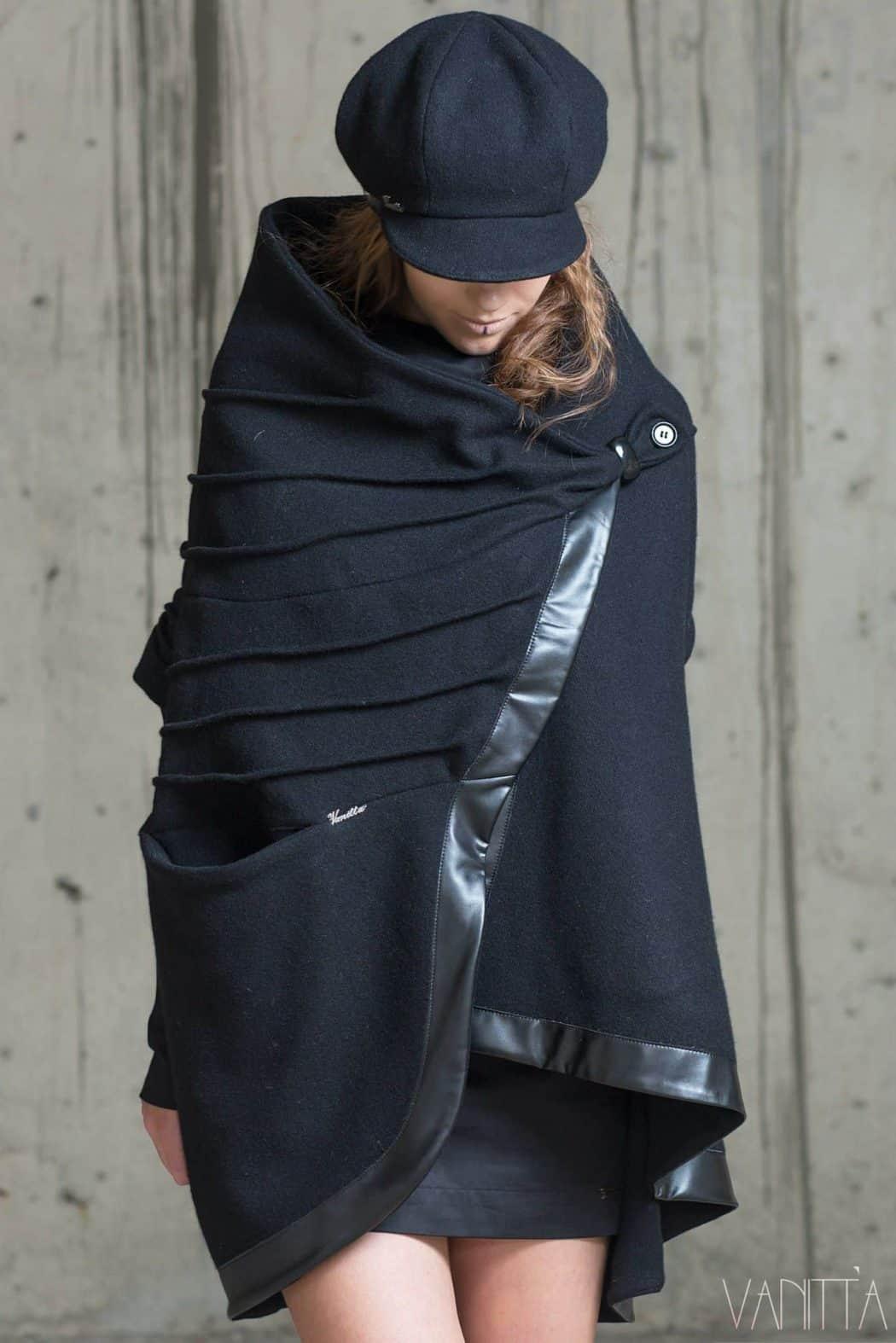 Asymmetrical ladies coat NAVARA