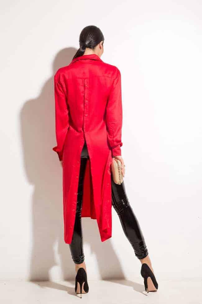 Екстравагантна дълга риза BEAUTY RED