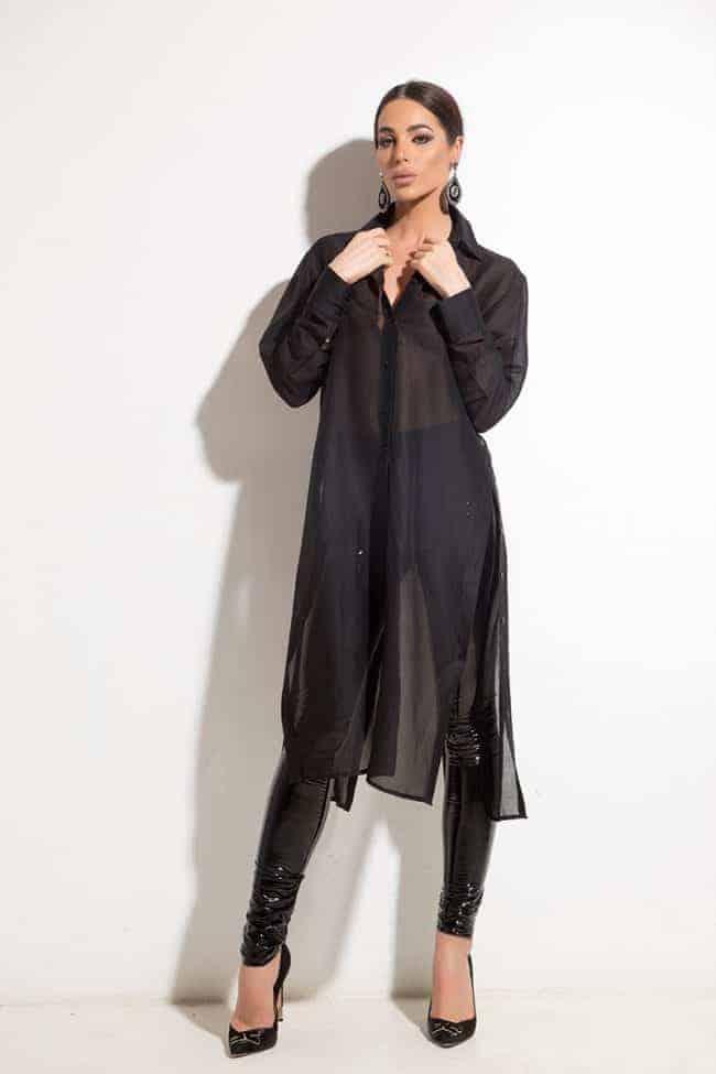 Екстравагантна дълга риза BEAUTY BLACK