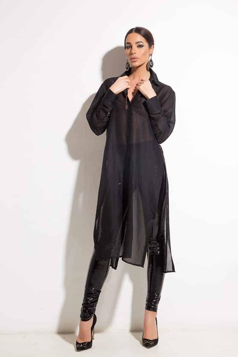 Extravagant long shirt BLACK BEAUTY