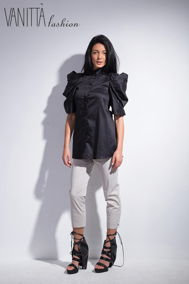Cotton shirt with interesting sleeves LUXURY