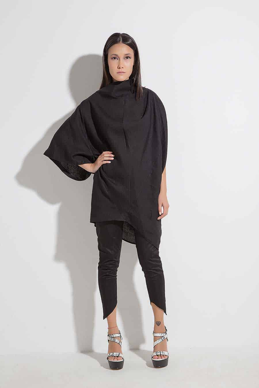 Wide asymmetrical tunic for women SANA