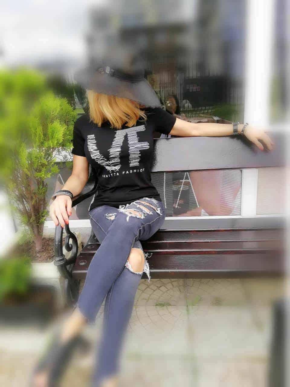 Дамска тениска с щампа - STITCH